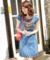 Free shipping summer dress women 2014 slim o-neck denim dress with beading patchwork vintage pencil dress