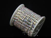 Diamante SS16 AB Rhinestone Silver cup Chain 10 yard bridal appliques trims for dresses