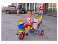 Small yellow duck High quality F-9944 child twins trike, twins tricycle,buggy for 2 baby