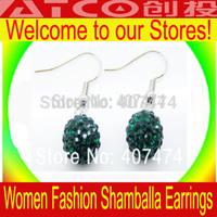 Wholesale Shambala Earrings, Free Shipping Crystal 10 MM Ball Earring,Shamballa Earrings Micro Pave CZ Disco Ball Bead