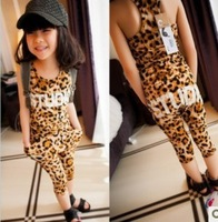 Summer Fashion suit Ultrathin Vest and Trousers girl boy clothing sets Leopard baby kids clothes  620118J