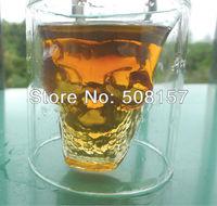 2PCS Newest Doomed Crystal Skull Shot Glass for beer, whisky, Vodaka,Novelty cup,Free shipping