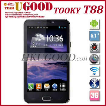"New Arrival TOOKY T88 Android 4.0 Smartphone Dual Sim Cards 5.15"" TFT Screen 800*480 512RAM+4GROM Dual Camera Unlocked In Stock"