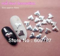 Free Shipping MD-1A 2000pcs/lot Silver 6mm Heart 3d metal nail studs nail decorations