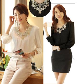 S-XXL Free Shipping Women's Sleeveless chiffon long sleeve blouse # S5561