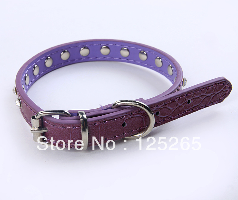 Diamonte Puppy Dog Kitten Cat BLING PET Collars PURPLE(China (Mainland))