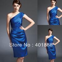 royal blue one shoulder satin knee length dresses for mother of graduate