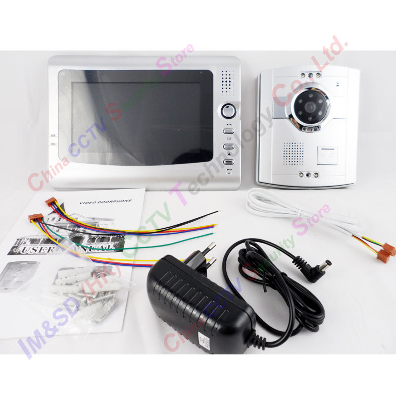 "new-model 7""TFT display night vision unlcok function good voice office intercom system color video door phone(China (Mainland))"