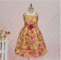 female child summer  flower 100% cotton spaghetti strap princess  one-piece dress