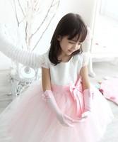 Child formal dress long design gloves white pink bow flower girl female formal dress gloves