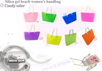 Women's  candy color  silicone beach  handbags in large size with high quality