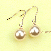 Free Shipping Italina Rigant Fashion Jewelry Wholesale 18k gold plated Earring, Pearl Earring Girlfriend / Mother Gift
