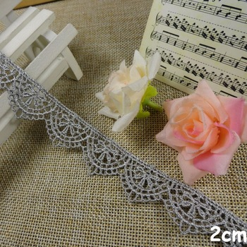 FREE SHIPPING 2cm shining grey silver color water soluble lace, crown pattern lace trimming accessories, XERY13510