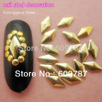 Free Shipping MD-1D 2000pcs/lot gold 8mm 3d metal nail studs nail decorations