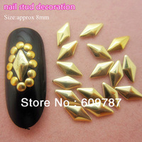 Free Shipping MD-1D 2000pcs/lot gold 8mm 3d metal nail studs nail decorations