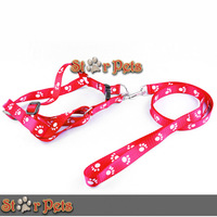 New Paw Print  Nylon Material Puppy Dog Pet  Walking Harness & Leash Set S/M/L Adjustable