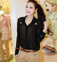 Golden edge transparent lady long sleeve chic blouse LBT03
