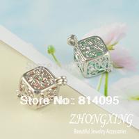 13*25 Imitation Rhodium Filigree Square Brass Cage Pendants;pearl cage,sea glass lockets,Imitation Rhodium plated Cage Pendant