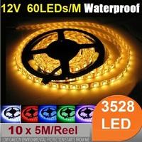(50 meter/lot)Waterproof 5M 300 leds 12V smd 3528 LED Strip Light Flexible  LED ribbon tape White warm red blue yellow green RGB