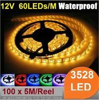 (500 Meter/lot) Waterproof 5M 300 leds 12V smd 3528 led Strip Light flexible Tape Ribbon Red Green Blue Yellow White Warm RGB