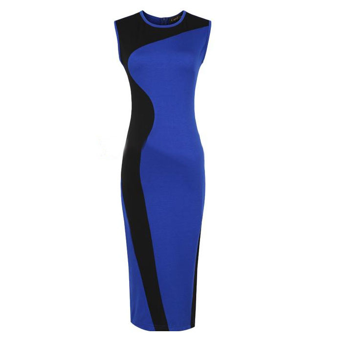 2013 Fashion autumn one-piece dress geometry design navy blue black arc patchwork all-match basic knitted one-piece dress(China (Mainland))