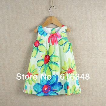 2013 Girls Cotton Sundress Dress printing ink