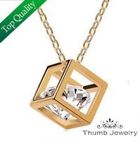 JS N004 Silver Zircon Necklace High Quality Colares CZ Diamond Austrian Crystal Jewerly Elegant Rhinestone Bijoux Christmas Gift