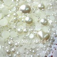 Free Shipping 800pcs/Lots DIY Pearlized Flat Round Pearl/Rhinestones Cabochons Mixed Size MG-SC01