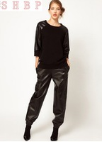 Winter Lulu and co design loose black women's  PU pants trousers/pants,free shipping