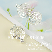 14.5*12mm Sterling Silver Filigree cage  Brass Cage Pendants;pearl cage,vintage lockets,Shiny Silver plated Cage Pendant