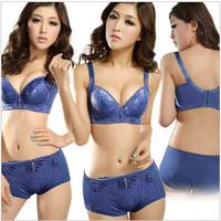 The shipping three rows of four buckle Massage gather adjustable underwear bra set girl