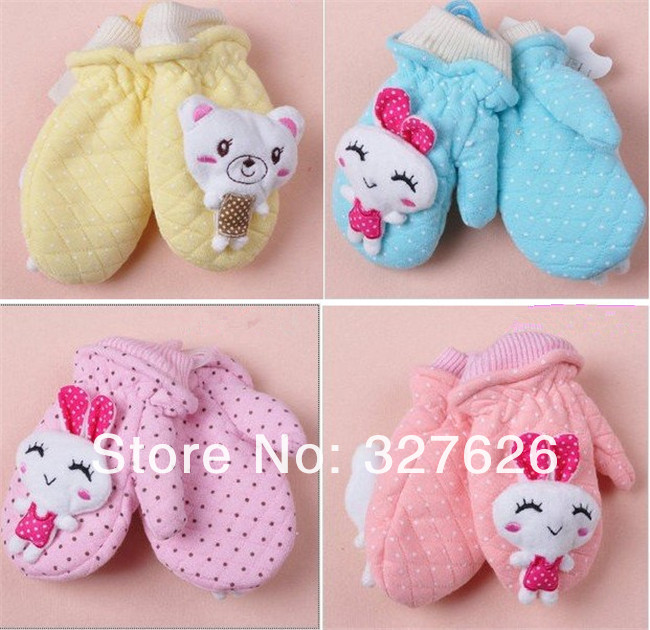 Wholesale12pair/lot Fashion Mixed Color Wool Baby Children Gloves Doll series, Girl/Kids Winter Warm Gloves, Super quality(China (Mainland))