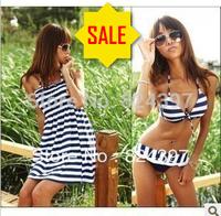 FreeShipping Navy style summer plus size swimwear XL 2XL swimsuit split female bikini 3 pieces bikini set