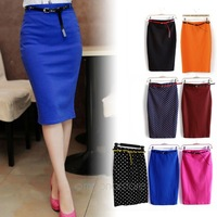 [CARZY] Candy Color Vintage Women Elastic Slim Medium-long High Waist Skirt Stretch Pockets Hip Pencil Skirt with Belt HE1421