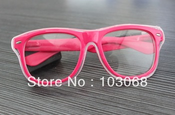 BRAND NEW LIGHT UP GLOW EL WIRE SUNGLASS GLASSES   5pcs/Lot LED flashing glasses Funny  Christmas Gifts free shipping NEW