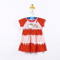 2013 dress baby girls/kids branded new Hello Kitty flutter sleeve Summer dresses free shipping