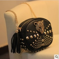 leopard head rivets shoulder bags European and American style women leather handbags women messenger bags