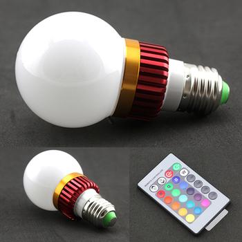 Purple Crystal E27 3W IR Remote Control 16 Color RGB led Spot light bulb AC 85-2