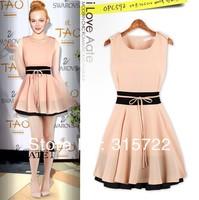 2013 new lady fashion Euro mixed color waist sleeveless dress,women elegant summer shot dress with S,M,L size A-186