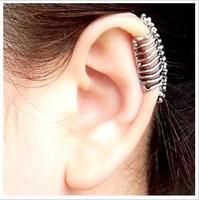 E0041 Fashion Cool Punk Earcuff Skull Clip Stud Earring No Pierced Earrings Free Shipping