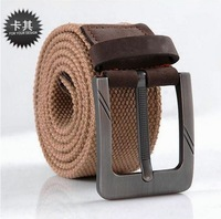 2014 Free shipping men thicken Canvas Belt Metal Buckle outdoor strap military girdle genuine cow leather belts waistband YD20