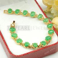 Free Shipping! Green Malay Jade Bracelet 7inch MJB12