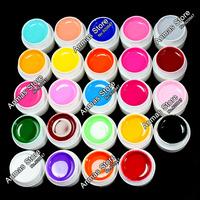 24 Color Solid Pure UV Builder Gel Set Nail Art False Full French Tips Salon Set