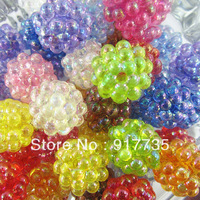 Free shipping!100 pcs Mixed  22mm Acrylic Transparent Berry Beads Lucky &Beauty  Chunky Jewelries Beads