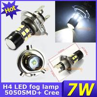 2PCS/ LOT 2 mode 12V 5050 SMD + Cree XP-E Led H4 Fog Light 7W Parking Bulbs Car White Super Bulb High DRL Driving lamp FREE SHIP