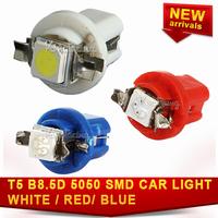 10x Blue/ white Side 1Smd T5 Indicator Light Dashboard Car 5050 DC12V B8.5D Speedo Interior Led Bulb Lamp Gauge free ship