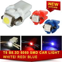 10x  DC 12V Led Dashboard Interior Lamp Side Gauge T5 B8.3D 5050 1Smd Bulb White/red/blue Car Speedo Indicator Light free ship