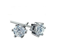 Free Shipping 2013 Hot 6mm CZ Stud Earrings Zircon Stud Earrings 925 Sterling Silver Stud Earrings With 925 Logo