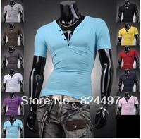 Free Shipping Mens Designer Casual V Neck T-Shirts Tee Shirt Slim Fit Tops New short sleeve t-shirt S M L XL C1319