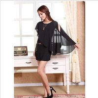Elegant and sexy ladies dress, 2013 new summer leave two shoulder section pearl Chiffon women dress free shipping
